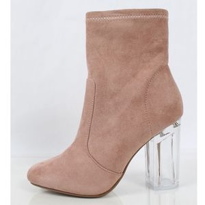 Shoes - Mauve Faux Suede Clear Block Heel Bootie